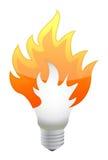 Lightbulb on fire Stock Images