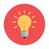 Lightbulb flat icon. On red circle vector illustration