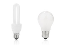 Lightbulb and fluorescent energy saving lamp Stock Photo