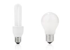 Lightbulb and fluorescent energy saving lamp Stock Photo