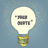 Lightbulb with the frame for the quote Royalty Free Stock Photography