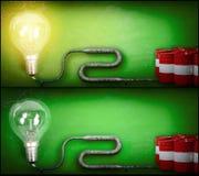 Lightbulb and gasoline barrels Stock Images