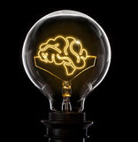 Lightbulb with a glowing wire in the shape of a brain series Stock Photography