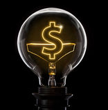 Lightbulb with a glowing wire in the shape of a Dollar symbol s Stock Photography