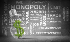 Concept of effective business innovations. Lightbulb with green dollar symbol ine placed against business related terms on grey wall on background. 3D rendering Royalty Free Stock Image