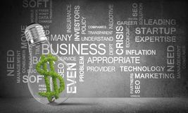 Concept of effective business innovations. Lightbulb with green dollar symbol inside placed against business related terms on grey wall on background. 3D Stock Photography