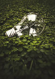 Lightbulb on green Stock Image