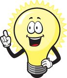 Lightbulb Guy. A smiling lightbulb getting an idea Stock Images