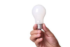 Lightbulb in a hand Stock Photo
