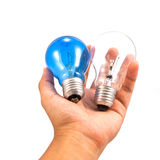 Lightbulb in hand. Lightbulb in a hand isolated on white background royalty free stock photo