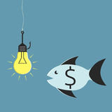 Lightbulb, hook and fish. Glowing lightbulb on fishing hook and fish with dollar sign looking at it. Idea and investment concept, EPS 10 vector illustration, no Stock Photo
