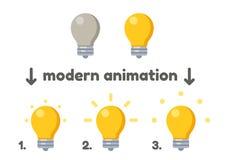 Lightbulb icon with animation. Lightbulb icon turning on animation frames. Modern vector style Stock Photos