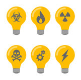 Lightbulb icon set Stock Photos