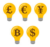 Lightbulb icon set Stock Photos