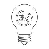 24 7 lightbulb icon. Simple black line lightbulb with 24 7 and arrow in the center  illustration Royalty Free Stock Photography