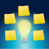 Lightbulb idea around posts illustration design Stock Image