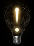 Lightbulb idea exclamation point Stock Photo