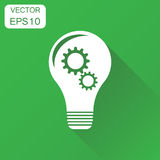Lightbulb idea icon. Business concept bulb pictogram. Vector ill. Ustration on green background with long shadow Stock Images