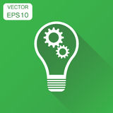 Lightbulb idea icon. Business concept bulb pictogram. Vector ill. Ustration on green background with long shadow Stock Image