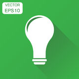Lightbulb idea icon. Business concept bulb pictogram. Vector ill. Ustration on green background with long shadow Royalty Free Stock Photos