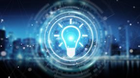 Lightbulb idea interface 3D rendering. Lightbulb idea interface isolated on blue background 3D rendering Stock Image