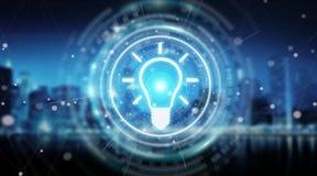 Lightbulb idea interface 3D rendering. Lightbulb idea interface isolated on blue background 3D rendering Stock Photo