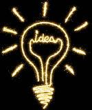 Lightbulb, idea made by sparkler Stock Image