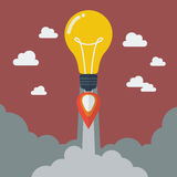 Lightbulb idea rocket Royalty Free Stock Images