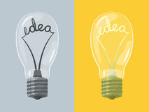 Lightbulb with idea Stock Photography