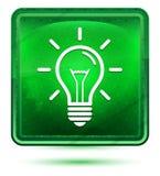 Lightbulb ikony neonowy jasnozielony kwadratowy guzik royalty ilustracja