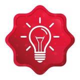 Lightbulb ikony starburst majcheru mglisty różany czerwony guzik ilustracji