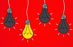 The lightbulb. Illustration of some lightbulbs on a red background royalty free illustration