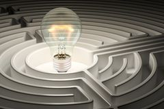 Lightbulb inside labyrinth maze. 3D rendering. Lightbulb inside labyrinth maze. 3D Stock Images