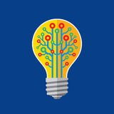 Lightbulb lamp - vector sign concept illustration in flat style. Creative idea banner. Modern technology computer network layout. Royalty Free Stock Photo