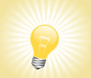 Lightbulb with light beams Stock Photography