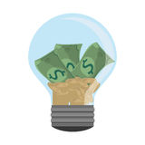 Lightbulb light bulb money bills. Isolated  illustration Stock Image