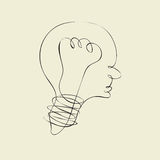 Lightbulb line like head and profile line Royalty Free Stock Images