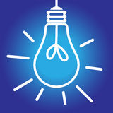Lightbulb lit white and blue Royalty Free Stock Image