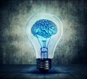 lightbulb mózg Zdjęcia Stock