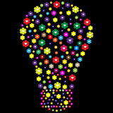 Lightbulb made of flowers. Isolated on black background Stock Image