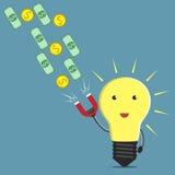 Lightbulb, magnet and money Stock Photo