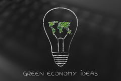 Lightbulb with map of the world made of leaves, green economy i Royalty Free Stock Image