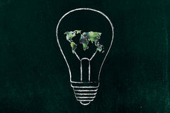 Lightbulb with map of the world made of leaves, green economy i Royalty Free Stock Photography