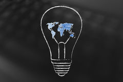 Lightbulb with map of the world made of wire, ideas for an hyper Royalty Free Stock Photography
