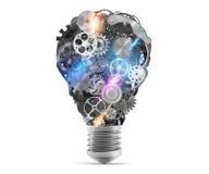 Lightbulb mechanisms of gears. 3d rendering Stock Images