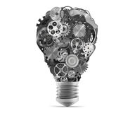 Lightbulb mechanisms of gears. 3d rendering Royalty Free Stock Images