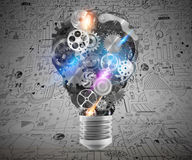 Lightbulb mechanisms of gears. 3d rendering Stock Photos