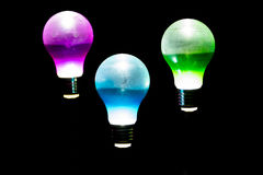 Lightbulb Moments. Beautiful solar light bulbs brightening up the garden Stock Photos