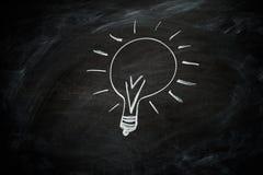 Lightbulb na blackboard Fotografia Stock