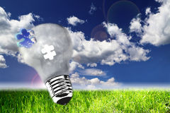 Lightbulb on nature view, the concept of ecology. Utopic nature and lightbulb, concept of ecology Royalty Free Stock Photos